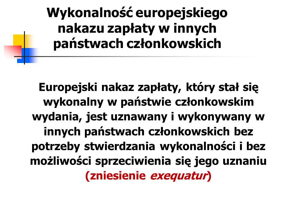Wykonanie europejskiego nakazu zapłaty – dokumenty do wykonania W celu wykonania nakazu w innym państwie członkowskim powód przedstawia właściwym organom egzekucyjnym tego państwa członkowskiego: odpis europejskiego nakazu zapłaty, którego wykonalność została stwierdzona przez sąd wydania i który spełnia wymogi niezbędne do stwierdzenia jego autentyczności oraz w razie potrzeby tłumaczenie europejskiego nakazu zapłaty na język urzędowy państwa członkowskiego wykonania