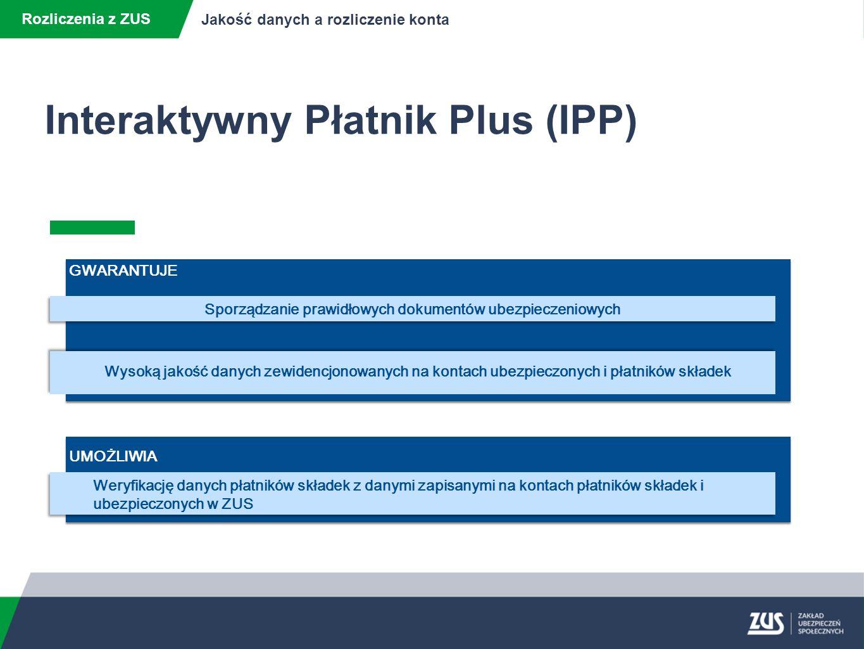Rozliczenia z ZUS Jakość danych a rozliczenie konta Interaktywny Płatnik Plus (IPP) weryfikacja poprawności dokumentów przed wysłaniem do ZUS ograniczenie liczby błędnych dokumentów przesyłanych do ZUS obsługa postępowań wyjaśniających przed przetworzeniem dokumentów i ewidencją na kontach płatników składek i ubezpieczonych automatyczna aktualizacja oprogramowania, komponentów i słowników ograniczenie liczby korygowanych dokumentów ograniczenie liczby postępowań wyjaśniających CELE WDROŻENIA