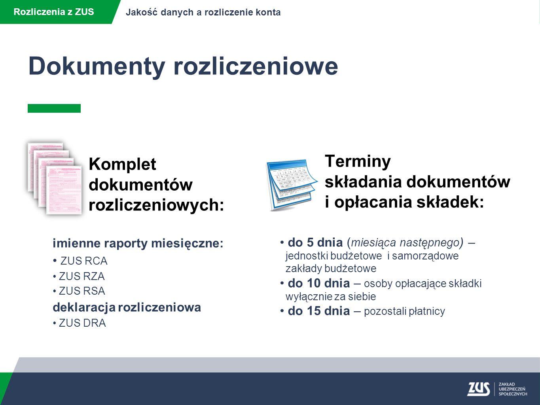 Dokumenty rozliczeniowe Rozliczenia z ZUS Jakość danych a rozliczenie konta postępowania wyjaśniające konsekwencje braku dokumentów konsekwencje błędów w dokumentach korygowanie dokumentów ryzyko powstania zadłużenia wymiar składek z urzędu