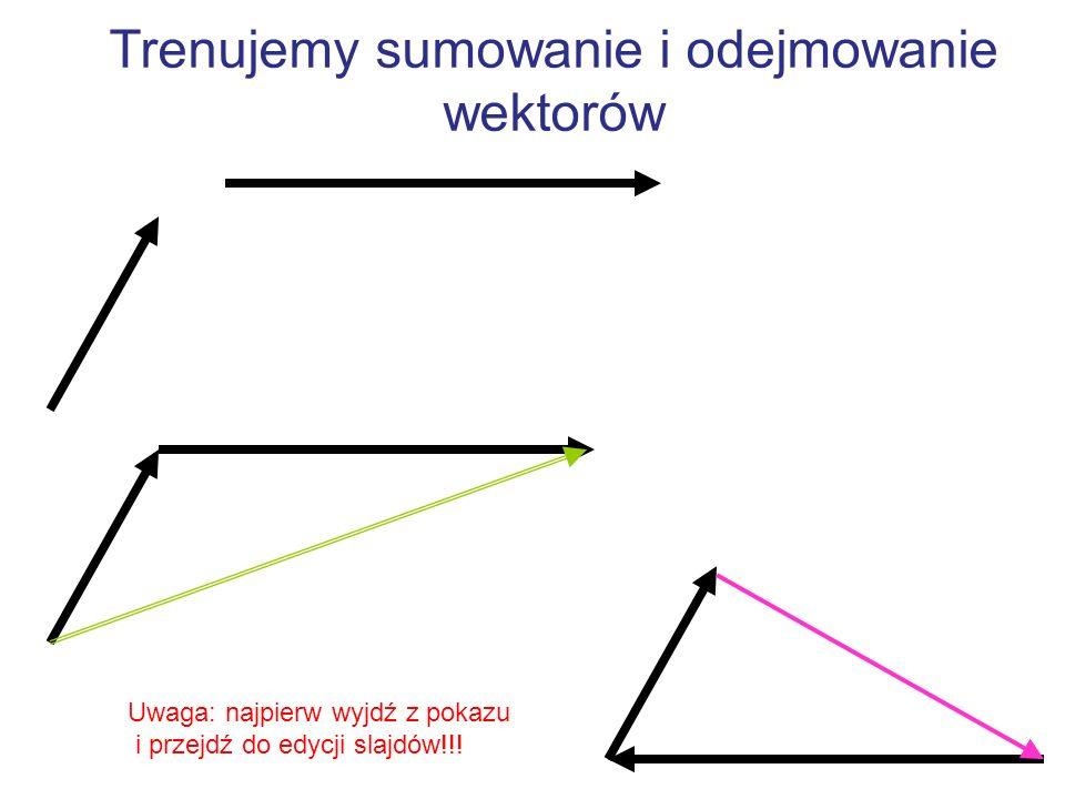 Trenujemy rozkładanie wektora na składowe Y X Uwaga: najpierw wyjdź z pokazu i przejdź do edycji slajdów!!!