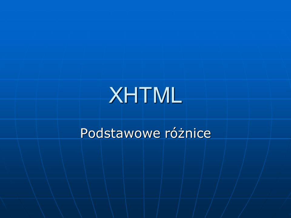XHTML to EXtensible HyperText Markup Language XHTML to EXtensible HyperText Markup Language XHTML jest niemal identyczny z HTML 4.01 XHTML jest niemal identyczny z HTML 4.01 XHTML ma czystszą formę niż HTML XHTML ma czystszą formę niż HTML XHTML jest aplikacją XML XHTML jest aplikacją XML