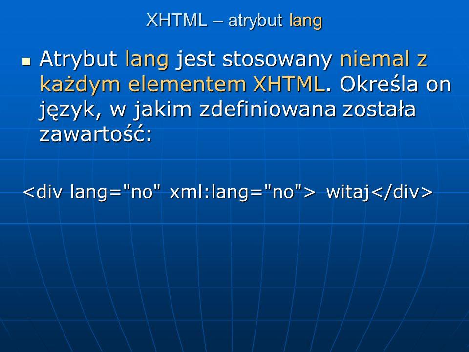XHTML – elementy obowiązkowe Wszystkie dokumenty XHTML muszą zawierać deklarację DOCTYPE.