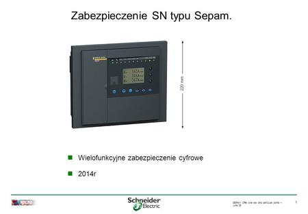 TOLED SEPAM: Offer overview and particular points – June 05 1 Zabezpieczenie SN typu Sepam. 220 mm Wielofunkcyjne zabezpieczenie cyfrowe 2014r.