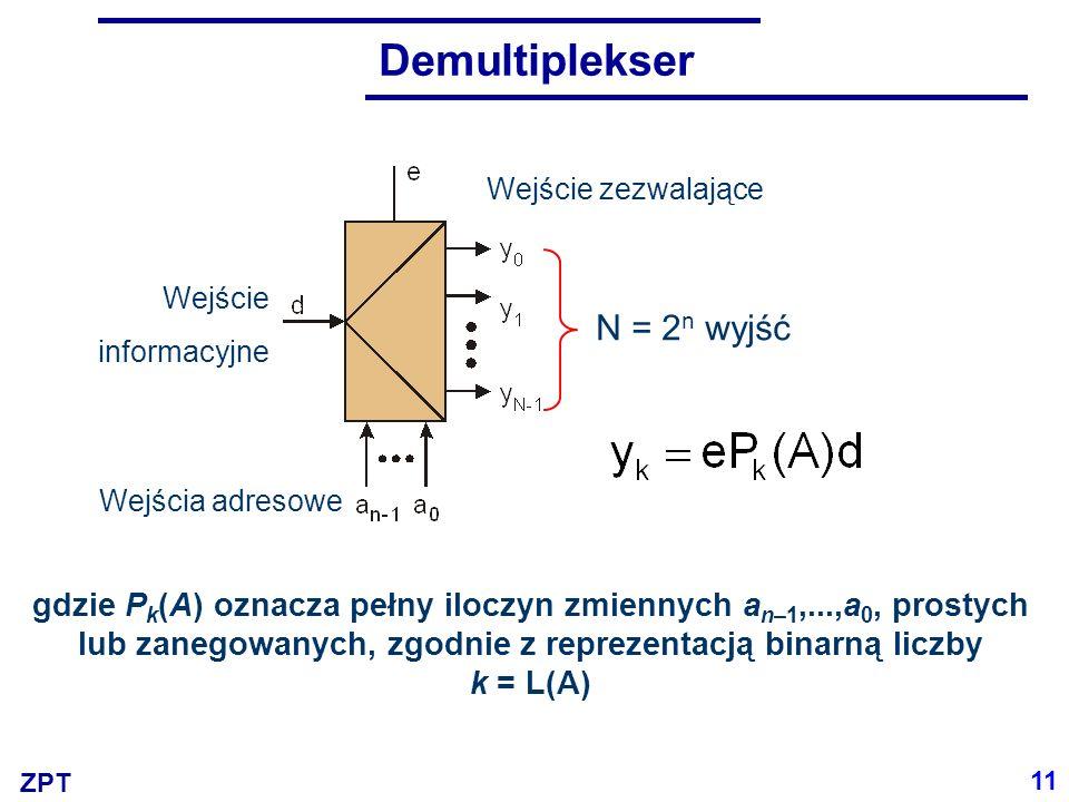 ZPT Demultiplekser jako przełącznik 000000 000000 000000 0 0 1 1 1 11 1 a0a1a0a1 e y0y0 d y1y1 y2y2 y3y3 12 =d