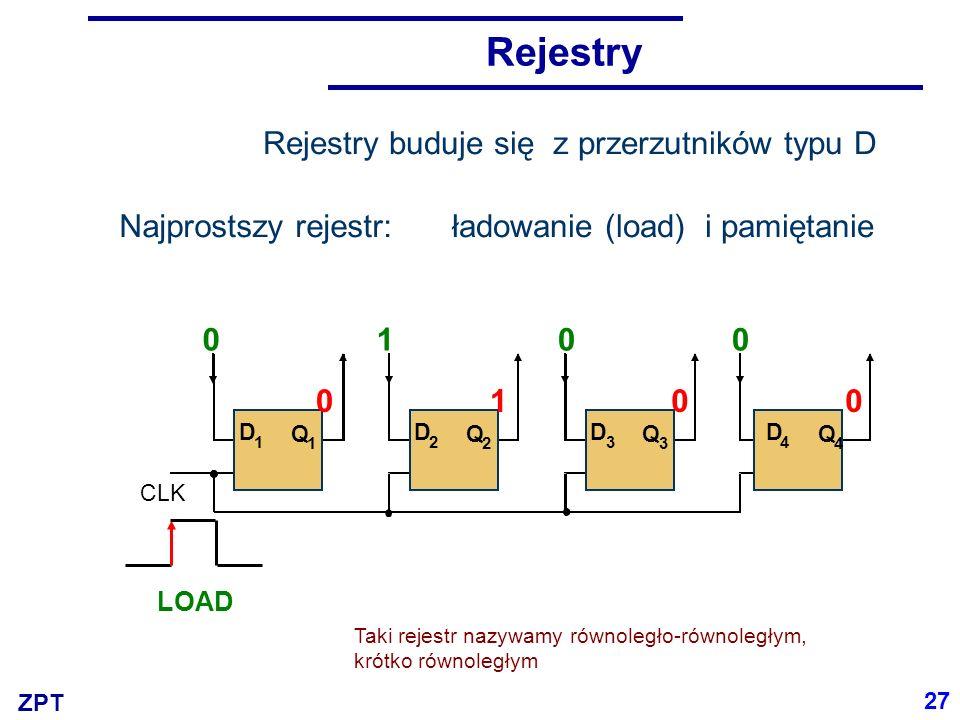 ZPT Rejestr przesuwający WEQ1Q1 Q2Q2 Q3Q3 Q4Q4 00000 11000 00100 00010 00001 00000 Q 1 Q 3 Q 2 Q 4 wejście szeregowe D 1 D 2 D 3 D 4 0 SHR clk 000010 Taki rejestr nazywamy szeregowo-równoległym, krótko szeregowym 28