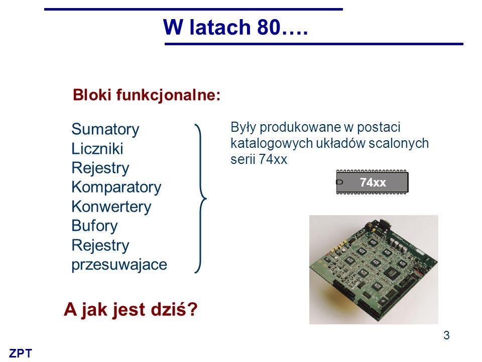 ZPT Licznik Rejestr Mux …stanowią wyposażenie bibliotek komputerowych systemów projektowania Każdy układ cyfrowy składamy z bloków funkcjonalnych 4 Bloki funkcjonalne…