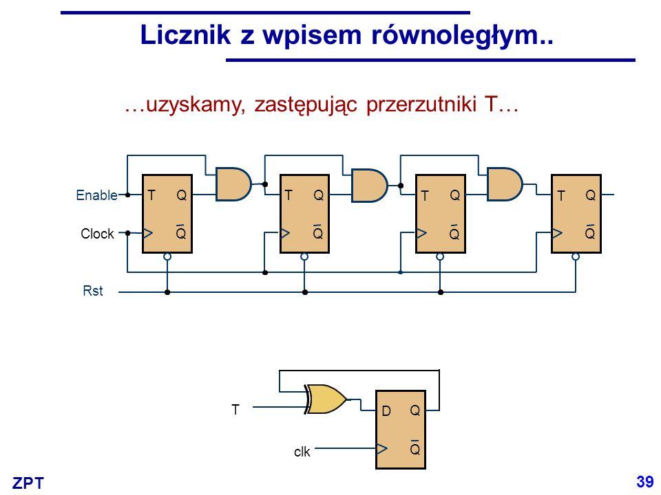 ZPT Licznik z przerzutnikami D 40 Wprowadzając taką zmianę, jak też wprowadzając przed wejście każdego D multiplekser, uzyskujemy strukturę licznika z mikrooperacją wpisu równoległego.