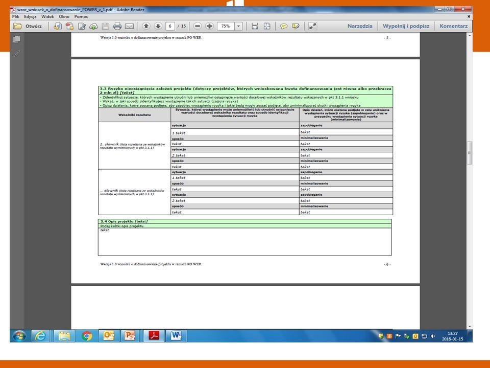 3.4 Krótki opis projektu Powinien zawierać:  cel ogólny projektu  główne rezultaty  grupę docelową projektu  główne zadania Limit 2000 znaków.