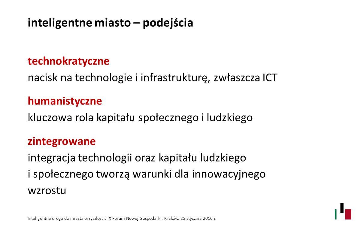 miasto przyszłości a miasto inteligentne miasto przyszłości – wyzwanie jasna wizja rozwoju oraz strategia budowy tożsamości i przewagi konkurencyjnej inteligentne miasto – realizacja wizji wykorzystywanie innowacyjnych rozwiązań (technologicznych, organizacyjnych, społecznych,… ) wspierających realizację strategii i wizji rozwoju Inteligentna droga do miasta przyszłości, IX Forum Nowej Gospodarki, Kraków, 25 stycznia 2016 r.