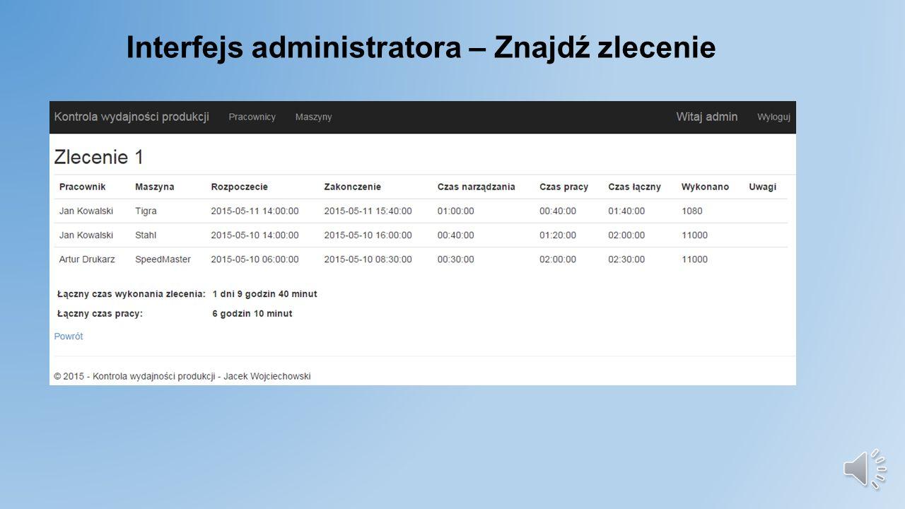 Interfejs administratora – Znajdź zlecenie
