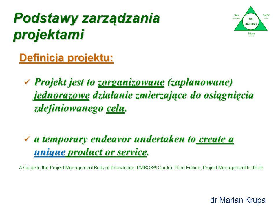 Definicja projektu: Podstawy zarządzania projektami Projekt jest to zorganizowane (zaplanowane) jednorazowe działanie zmierzające do osiągnięcia zdefiniowanego celu.