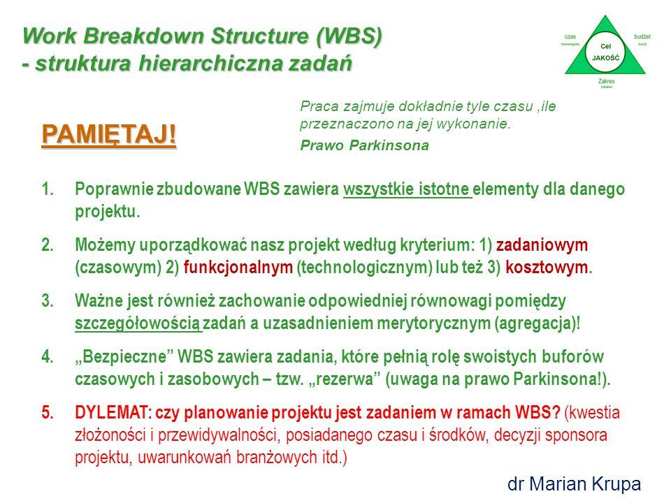 Work Breakdown Structure (WBS) - struktura hierarchiczna zadań dr Marian Krupa PAMIĘTAJ.