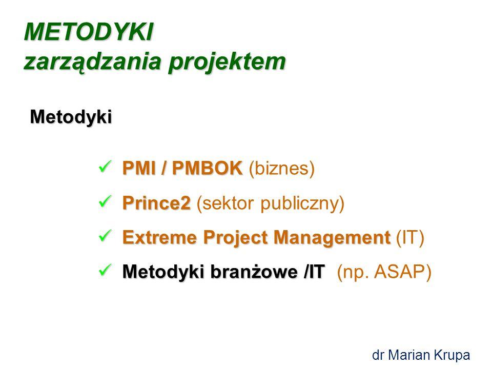PMI / PMBOK PMI / PMBOK (biznes) Prince2 Prince2 (sektor publiczny) Extreme Project Management Extreme Project Management (IT) Metodyki branżowe /IT Metodyki branżowe /IT (np.
