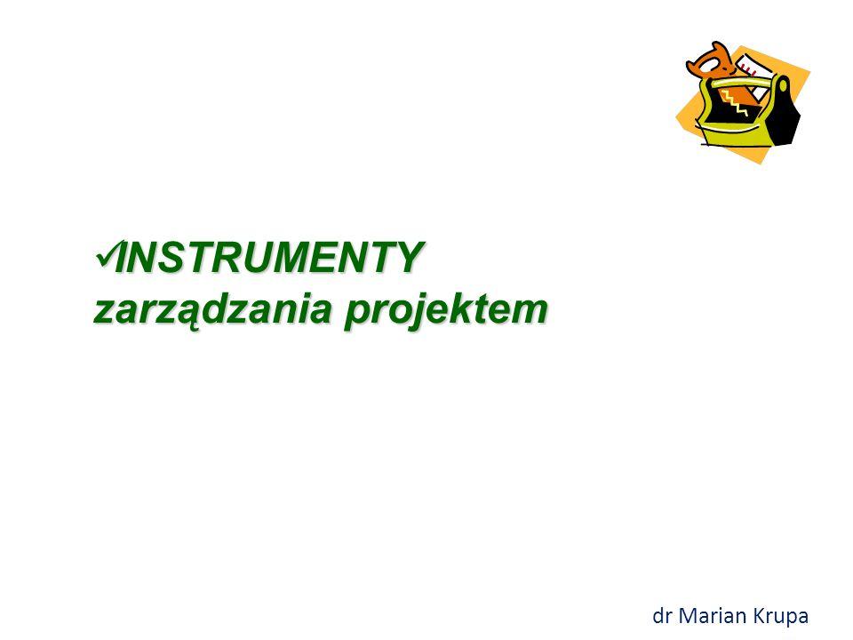 INSTRUMENTY zarządzania projektem INSTRUMENTY zarządzania projektem dr Marian Krupa