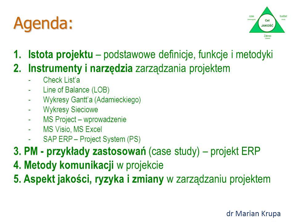 Agenda: 1.Istota projektu – podstawowe definicje, funkcje i metodyki 2.Instrumenty i narzędzia zarządzania projektem -Check List'a -Line of Balance (LOB) -Wykresy Gantt'a (Adamieckiego) -Wykresy Sieciowe -MS Project – wprowadzenie -MS Visio, MS Excel -SAP ERP – Project System (PS) 3.