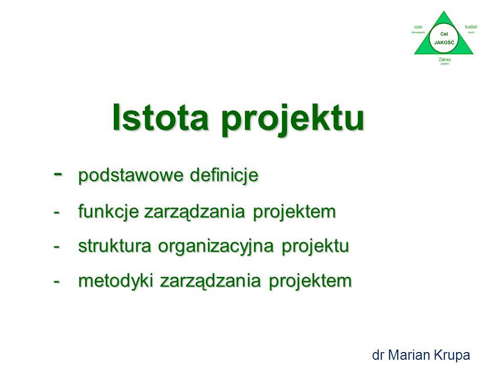 Istota projektu - podstawowe definicje -funkcje zarządzania projektem -struktura organizacyjna projektu -metodyki zarządzania projektem dr Marian Krupa