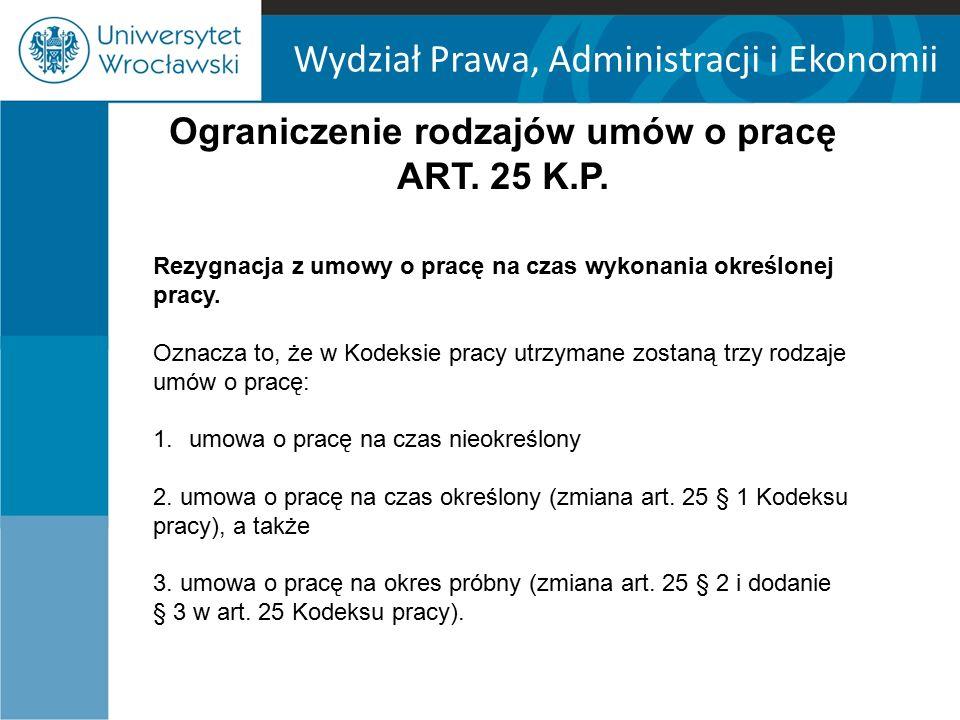 Ograniczenie rodzajów umów o pracę ART. 25 K.P.