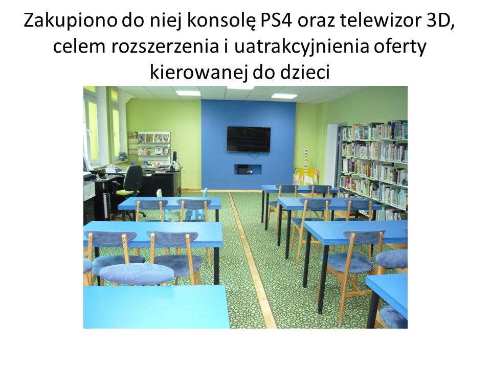 Zakupiono do niej konsolę PS4 oraz telewizor 3D, celem rozszerzenia i uatrakcyjnienia oferty kierowanej do dzieci