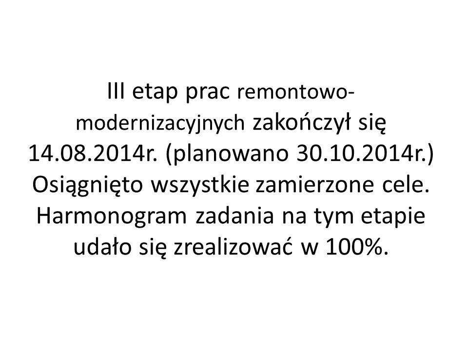 III etap prac remontowo-modernizacyjnych zakończył się 14. 08. 2014r