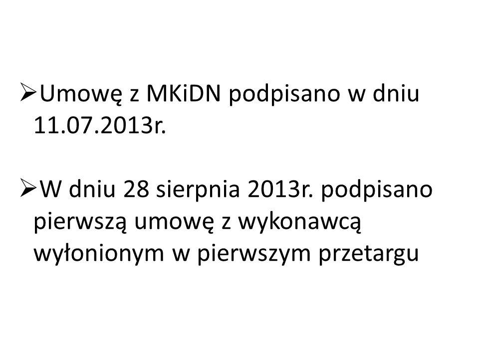 Umowę z MKiDN podpisano w dniu 11.07.2013r.