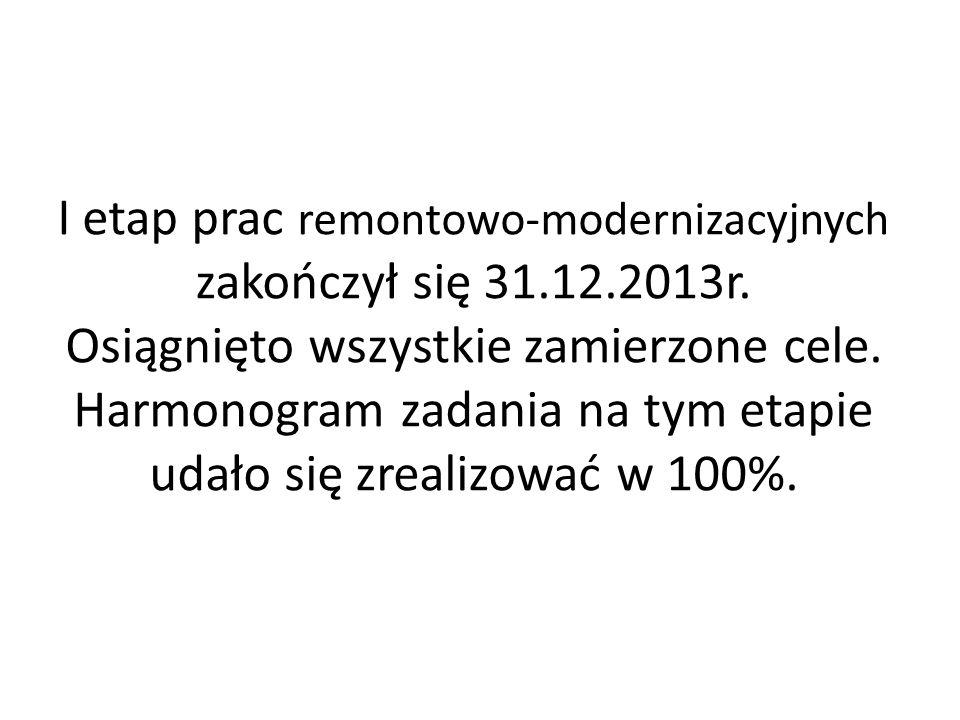 I etap prac remontowo-modernizacyjnych zakończył się 31. 12. 2013r