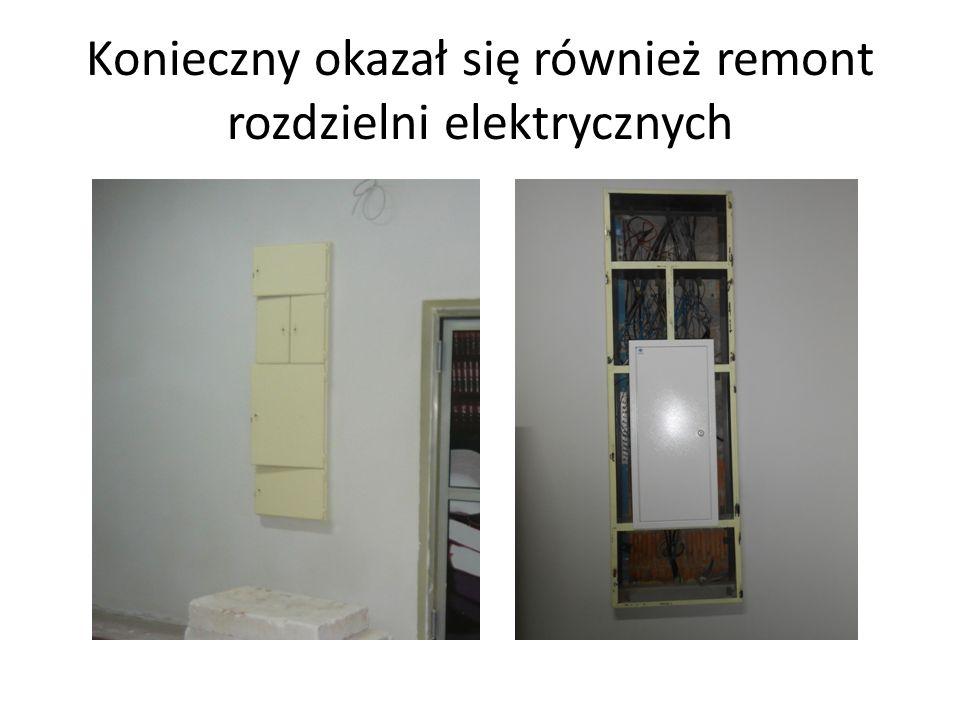 Konieczny okazał się również remont rozdzielni elektrycznych