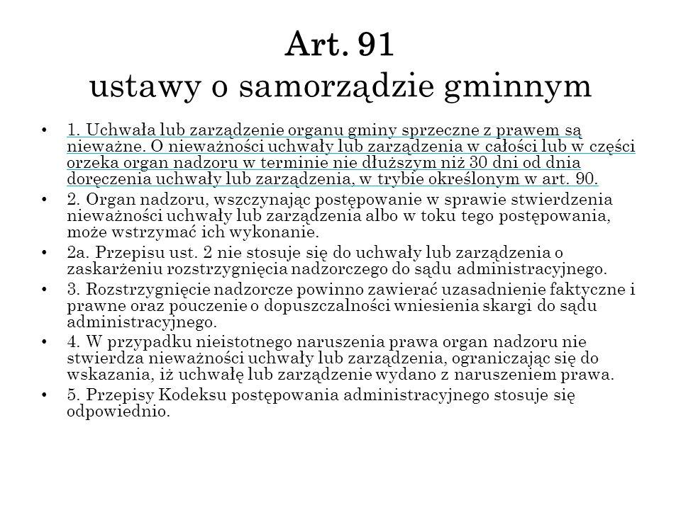 Art. 91 ustawy o samorządzie gminnym
