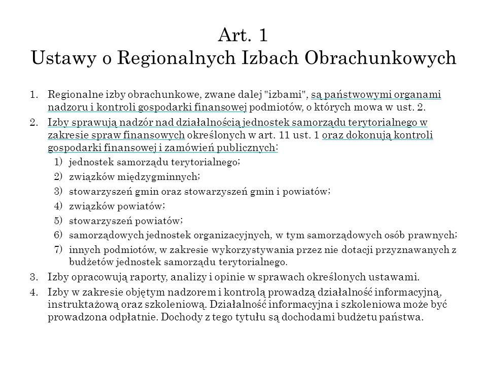 Art. 1 Ustawy o Regionalnych Izbach Obrachunkowych