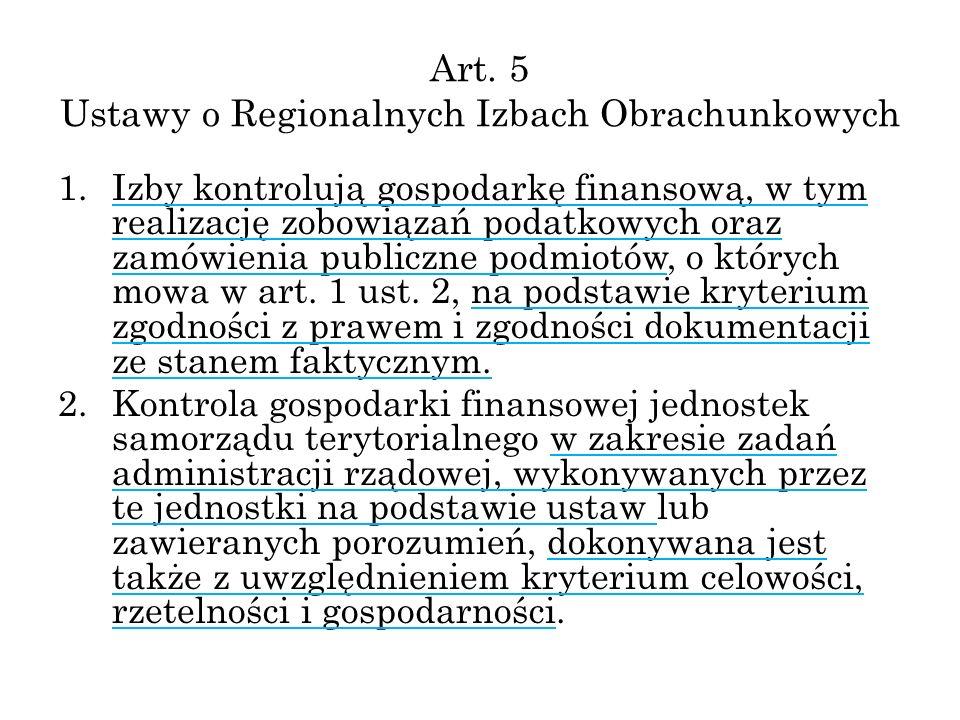 Art. 5 Ustawy o Regionalnych Izbach Obrachunkowych