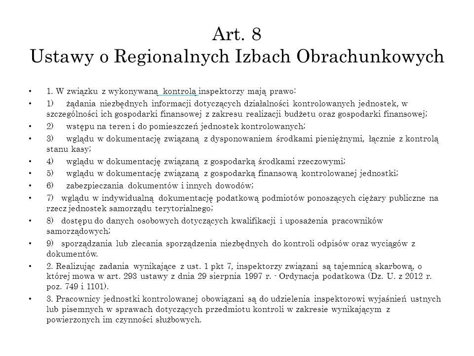 Art. 8 Ustawy o Regionalnych Izbach Obrachunkowych
