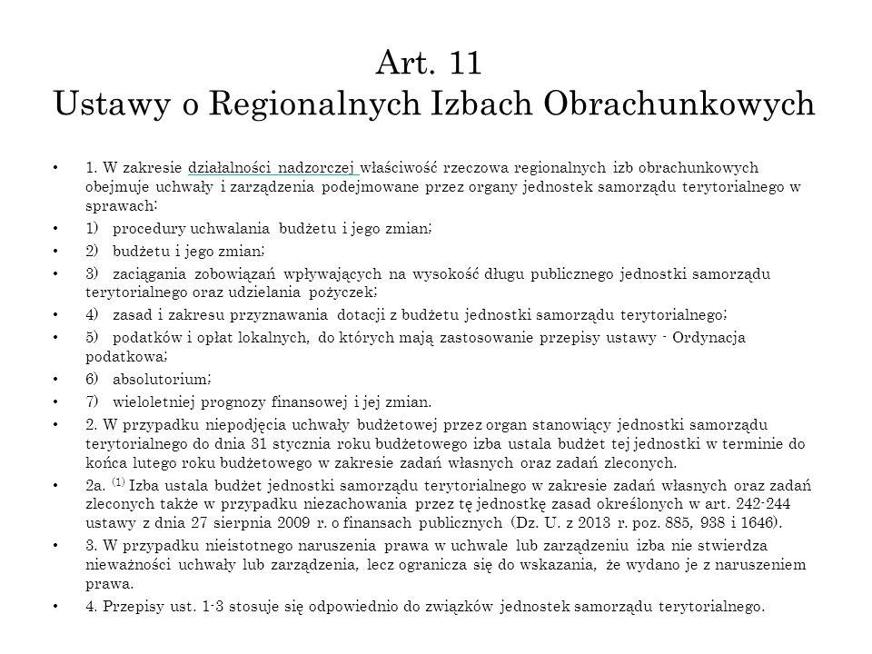 Art. 11 Ustawy o Regionalnych Izbach Obrachunkowych