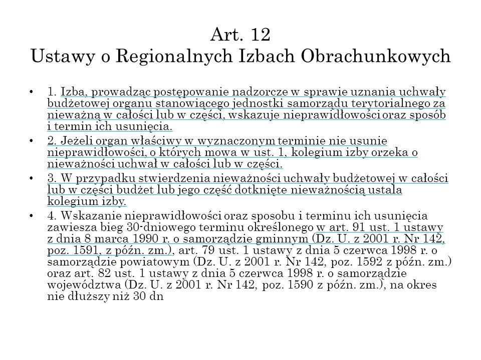 Art. 12 Ustawy o Regionalnych Izbach Obrachunkowych