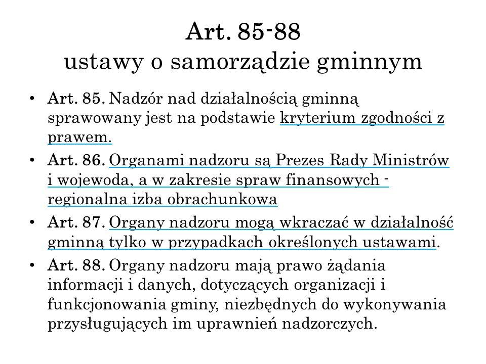 Art. 85-88 ustawy o samorządzie gminnym