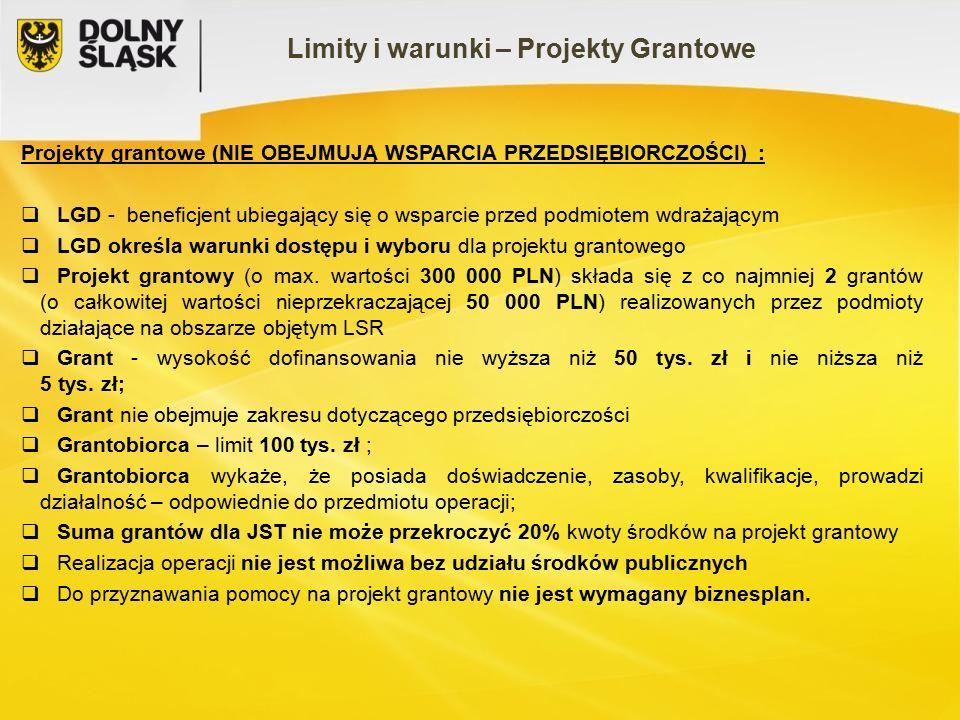 Limity i warunki – Projekty Grantowe