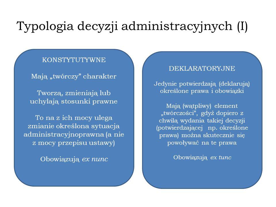 Typologia decyzji administracyjnych (I)