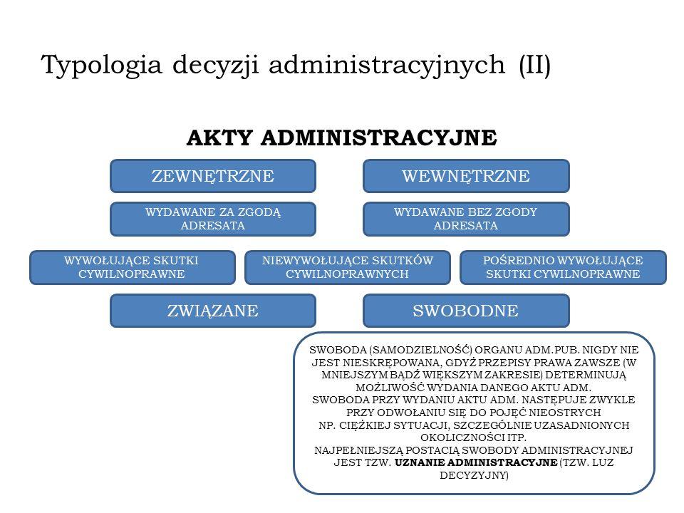 Typologia decyzji administracyjnych (II)