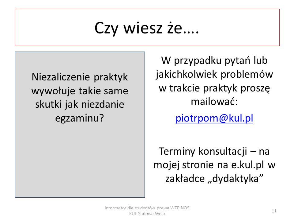 Informator dla studentów prawa WZPINOS KUL Stalowa Wola