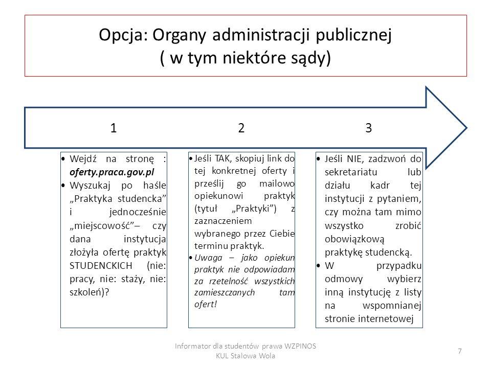 Opcja: Organy administracji publicznej ( w tym niektóre sądy)