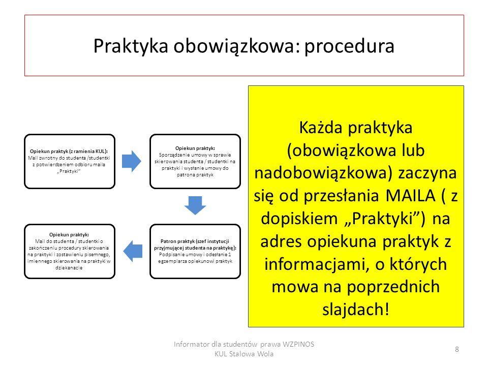 Praktyka obowiązkowa: procedura