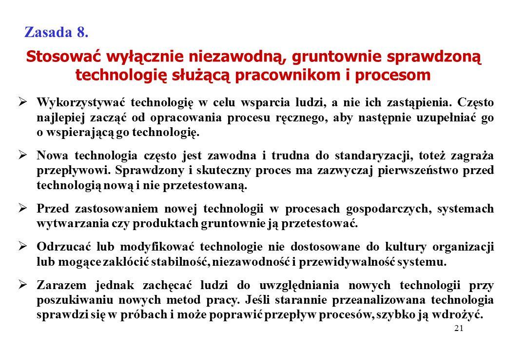 Zasada 8. Stosować wyłącznie niezawodną, gruntownie sprawdzoną technologię służącą pracownikom i procesom.