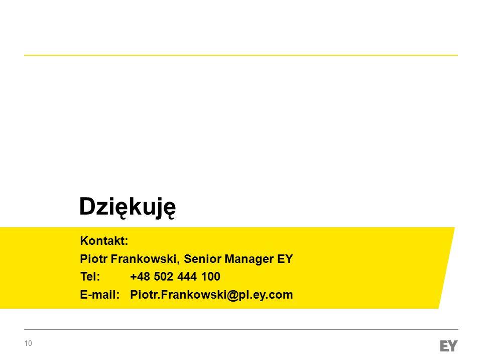 Dziękuję Kontakt: Piotr Frankowski, Senior Manager EY