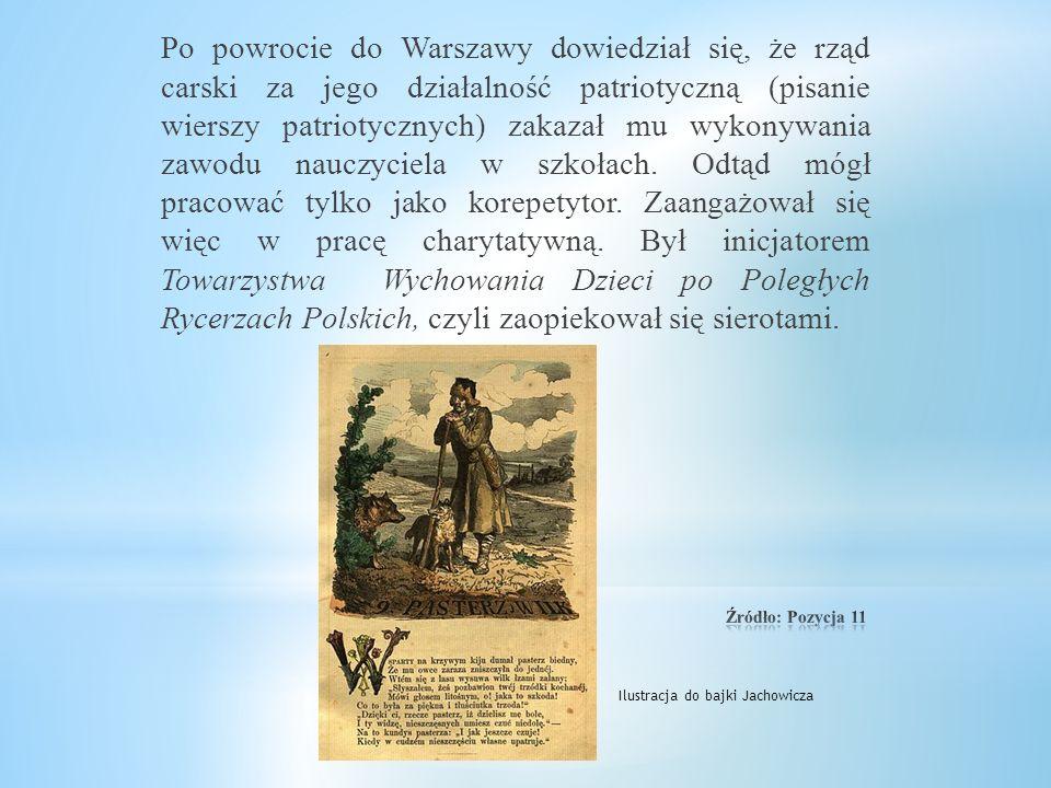 Po powrocie do Warszawy dowiedział się, że rząd carski za jego działalność patriotyczną (pisanie wierszy patriotycznych) zakazał mu wykonywania zawodu nauczyciela w szkołach. Odtąd mógł pracować tylko jako korepetytor. Zaangażował się więc w pracę charytatywną. Był inicjatorem Towarzystwa Wychowania Dzieci po Poległych Rycerzach Polskich, czyli zaopiekował się sierotami.