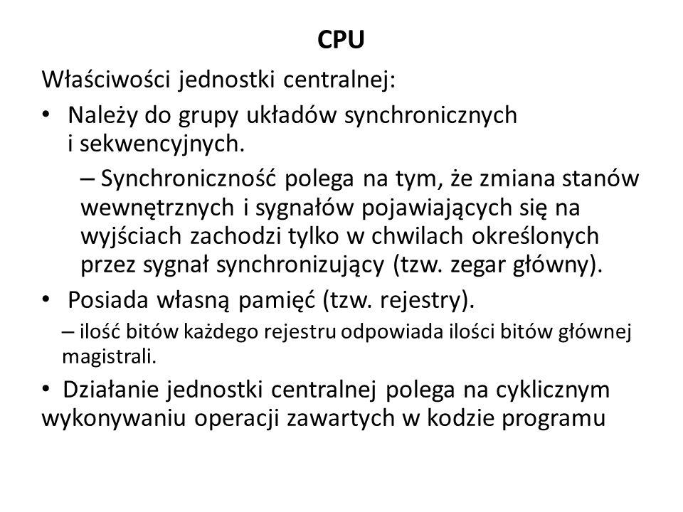 CPU Właściwości jednostki centralnej: