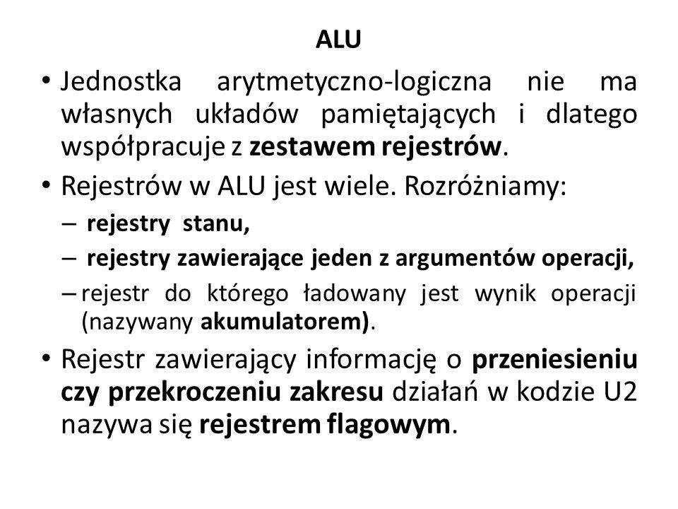 Rejestrów w ALU jest wiele. Rozróżniamy: