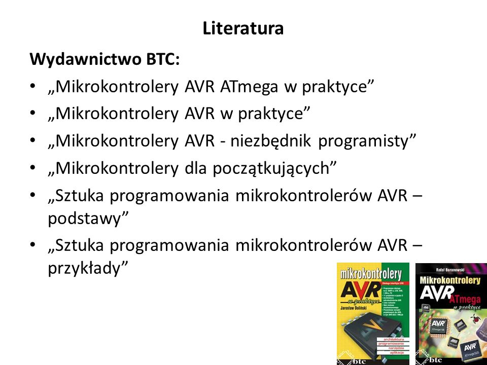 """Literatura Wydawnictwo BTC: """"Mikrokontrolery AVR ATmega w praktyce"""