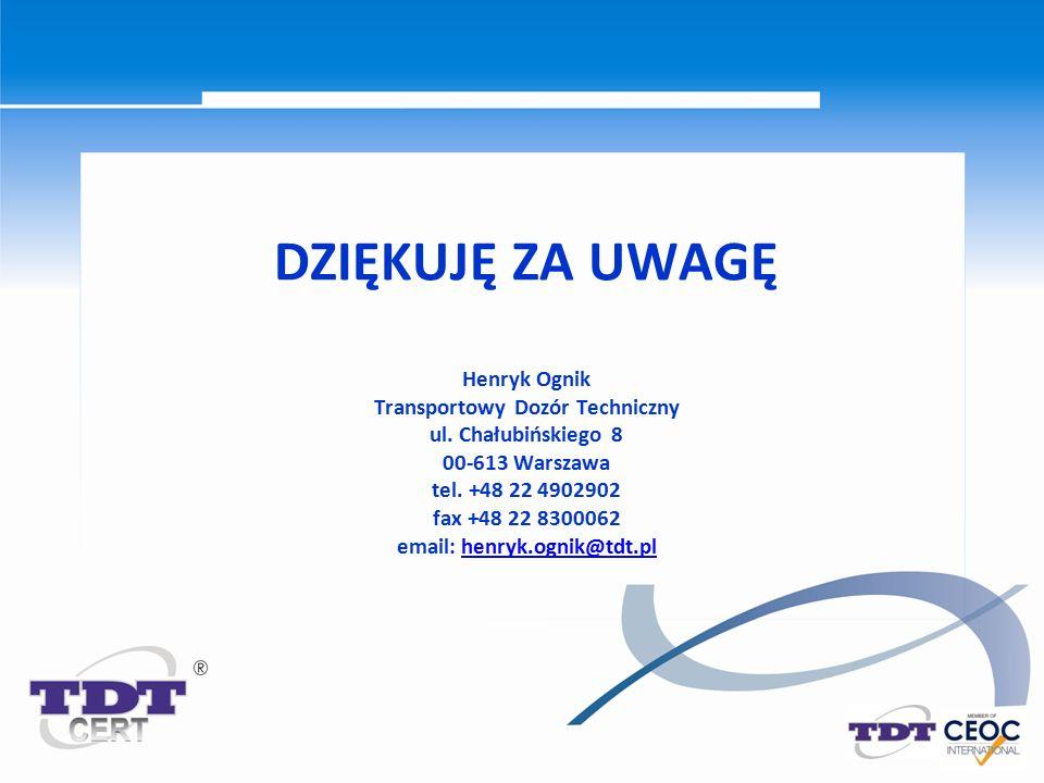 DZIĘKUJĘ ZA UWAGĘ Henryk Ognik Transportowy Dozór Techniczny ul