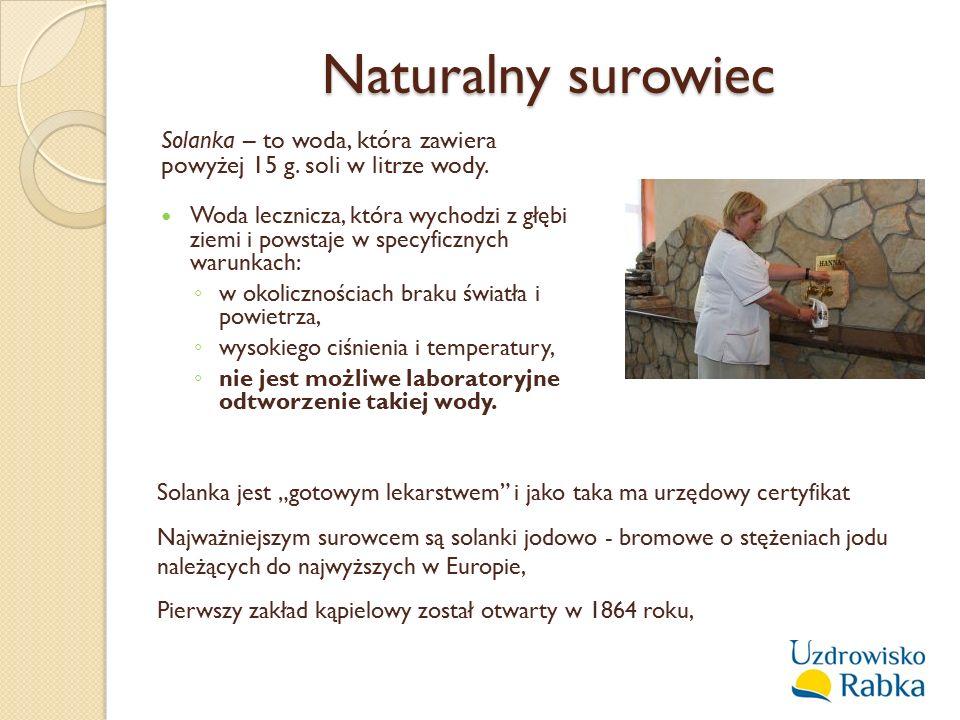 Naturalny surowiec Solanka – to woda, która zawiera powyżej 15 g. soli w litrze wody.
