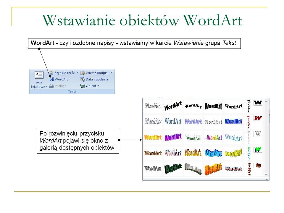 Wstawianie obiektów WordArt