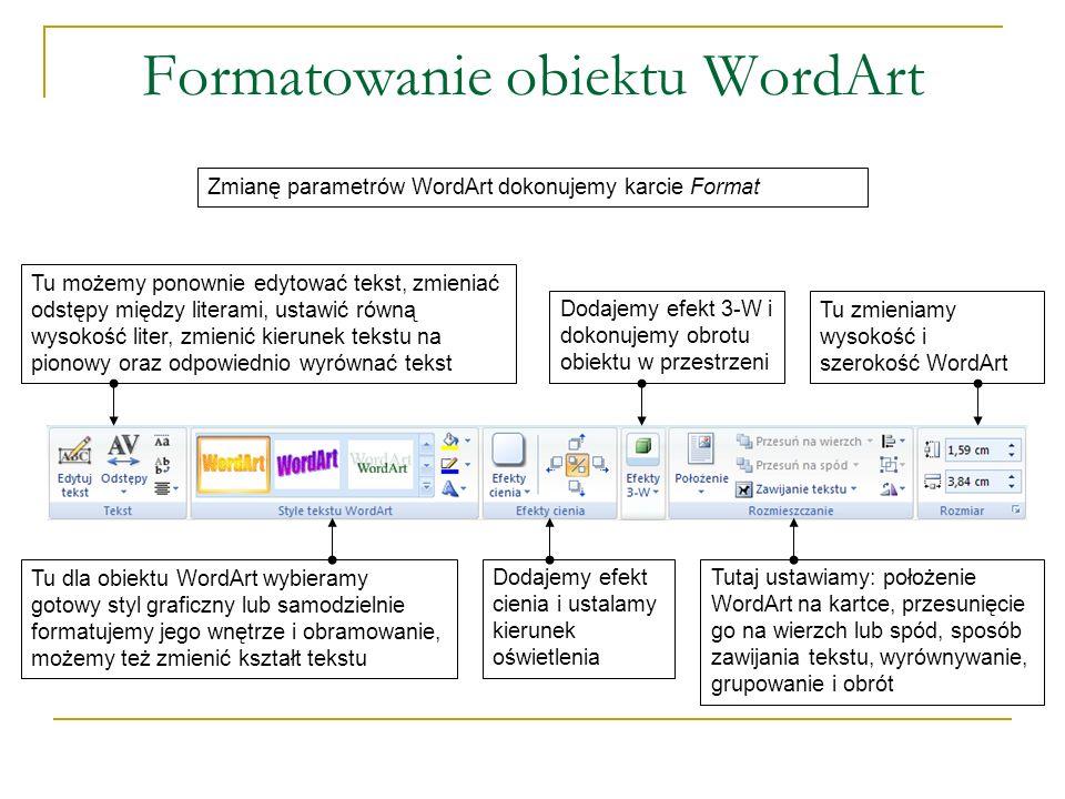 Formatowanie obiektu WordArt