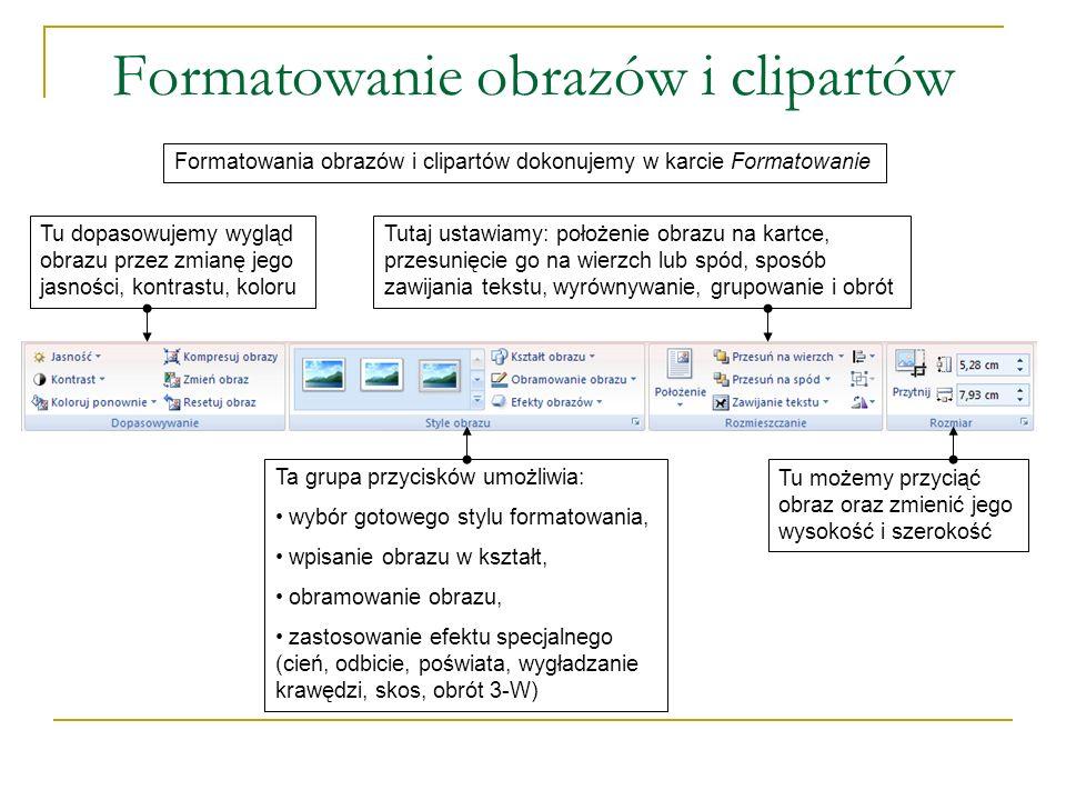Formatowanie obrazów i clipartów